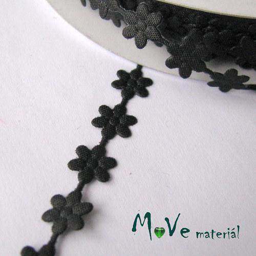 Aplikace květinky černá - šíře 7mm, 1m