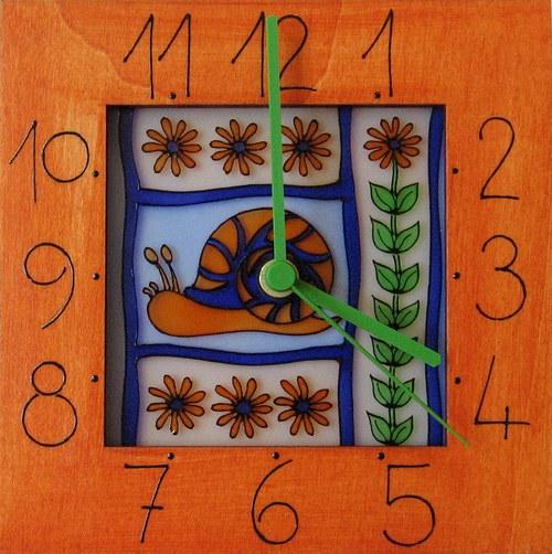 Šnek na zahradě - hodiny v rámu 17cm