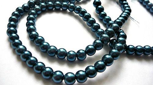 Voskové perly průměr 6mm modrozelená 50ks