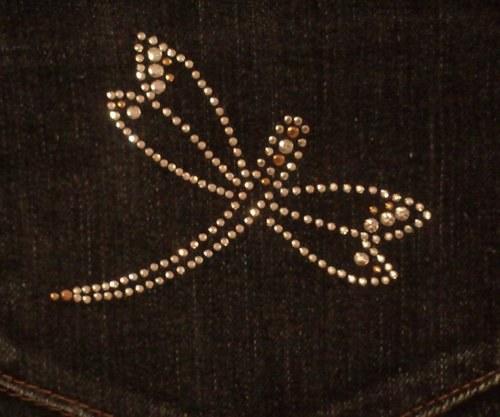 Vážka - Štrasový nažehlovací motiv, kamínky