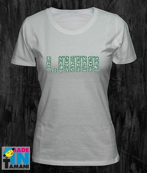 Dámské bílé tričko s Lamou potisk 04
