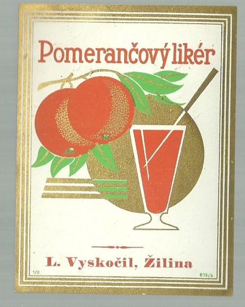 Etiketa Pomerančový likér Vyskočil Žilina