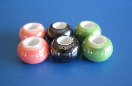 Porcelánové korálky 6ks - mixík