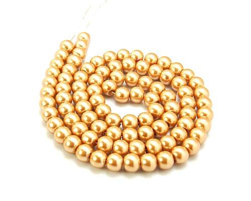 Kuličky zlaté, světlé, voskové, 8 mm, návlek