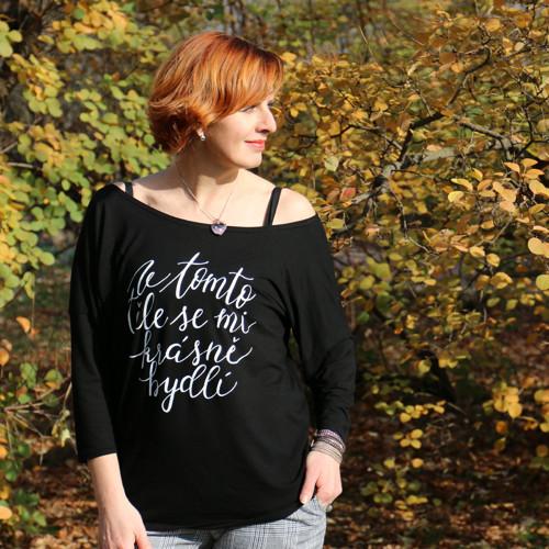 Krásná jako TY! Černé bambusové tričko 3/4 :)