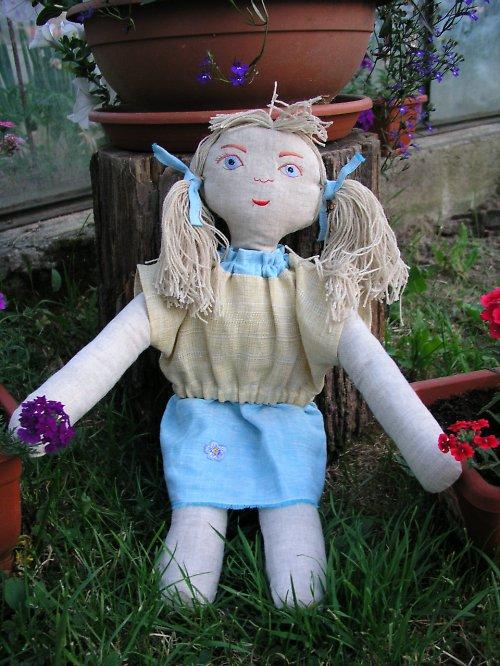 Modřenka -  látková panenka ze 100% lnu