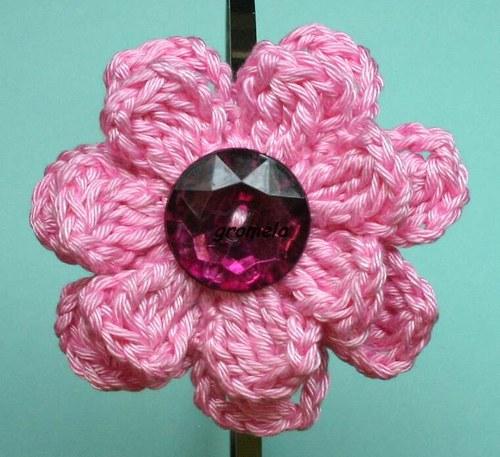 Čelenka růžový květ s kamenem