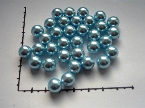 Perle skleněné voskované sv.modré 10mm, 6ks