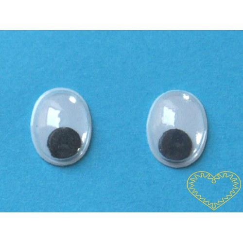Pohyblivé oči oválné - výška 10 mm - balení 100 ks