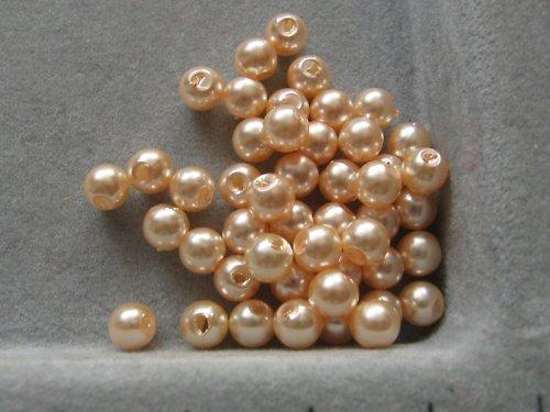 Voskové korálky - světle lososová  5 mm / 30 ks