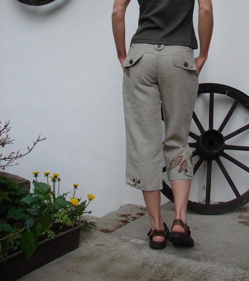 3/4 kalhoty - jemná režná elegance