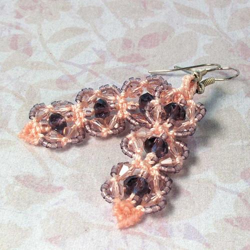 Macramé náušnice Karolína růžovo-fialové