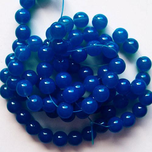 skleněné korálky imit. jadeit/ modrý/10mm/10ks