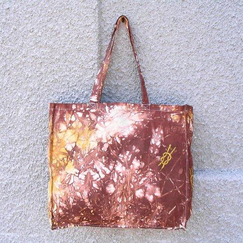 Nákupní taška hnědo-žlutá s otiskem uzlu