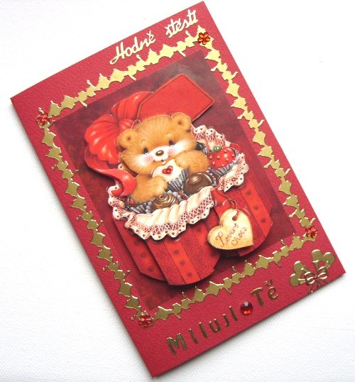 Blahopřání s roztomilým medvídkem plné sladkostí
