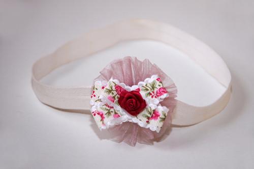 čelenka krémová - květ s růží