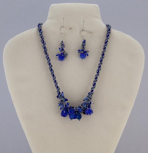 Modrá souprava - náušnice a náhrdelník