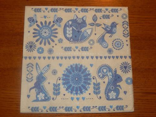 Ubrousek na decoupage - modrý folklor