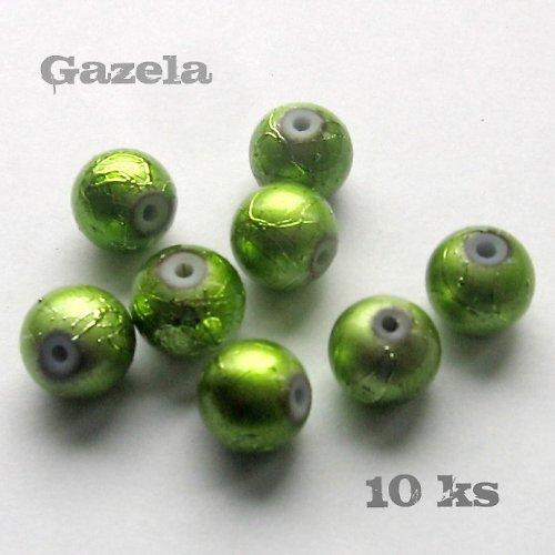 Korálky metalíza zelené - 10 ks