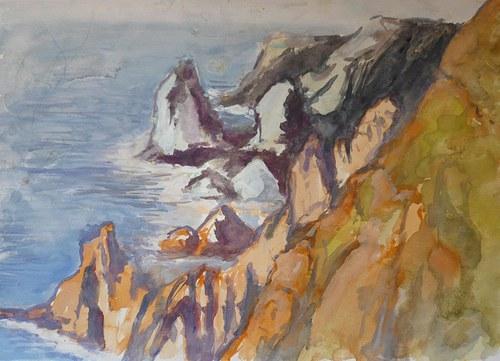 Cabo da Roca, Portugalsko, akvarel