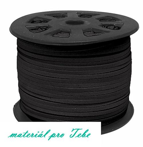 semišová umělá kůže - černá - 3mm - 1m