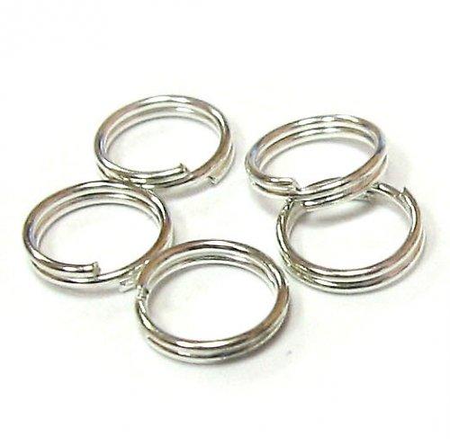 Kroužek dvojitý 5 mm - stříbrný - 10 ks