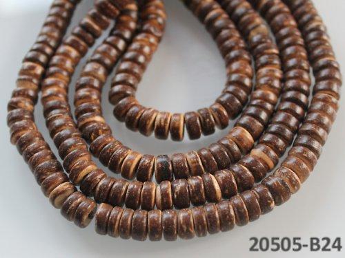 20505-B24 Kokosové rondelky 8mm HNĚDÉ, bal.20ks