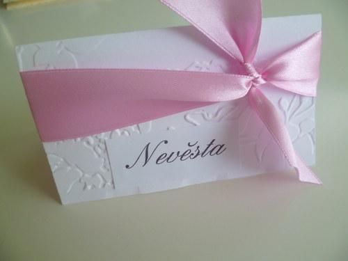 bílorůžové  jmenovky s ornamentem