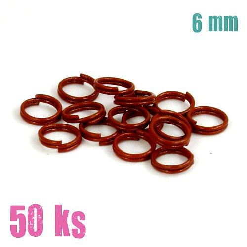 Vínové dvojité kroužky 6 mm, 50 ks