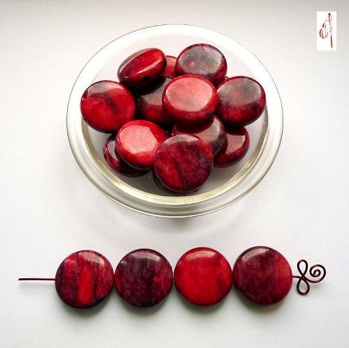 Mramorová placička červená, 25 mm, 2 ks