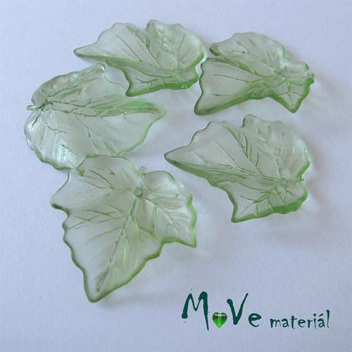 Akrylové transparentní lístečky, 5ks, zelené