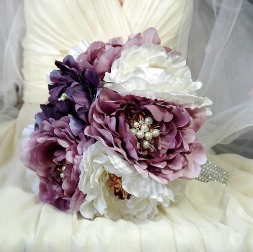 Shabby chic peony svatební kytice  + korsáž