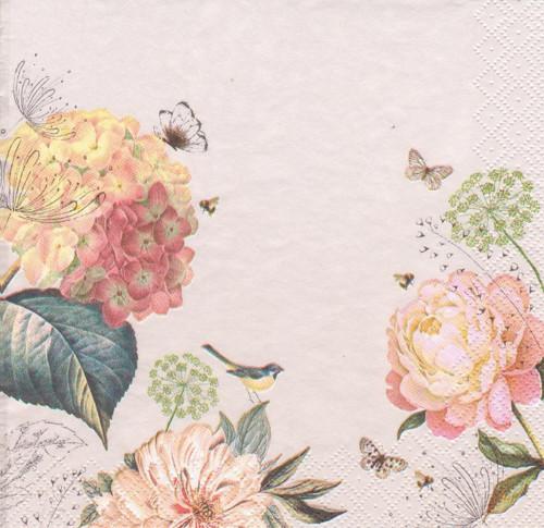 Ubrousek - hortenzie a pivoňky s motýlky