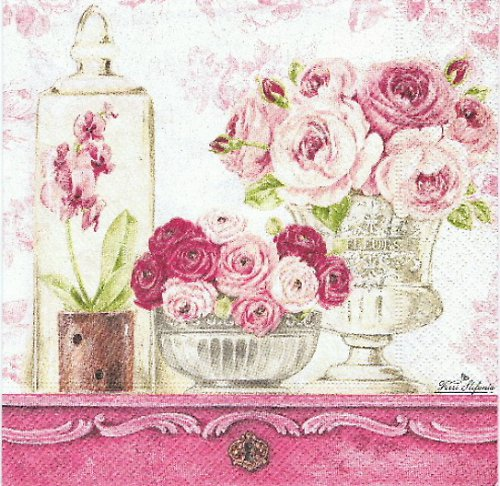 KV 391 R2S- ubrousek 33x33 - růže+orch.na stole