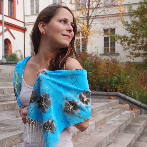 Macešková modrá - Hedvábná šála.
