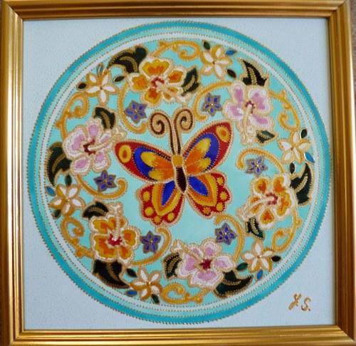 Mandala Motýl a květiny