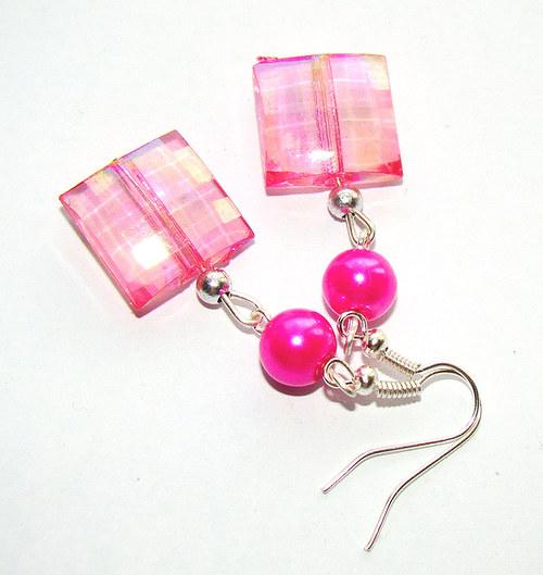 náušnice  čtverečky s perličkou