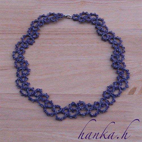 Náhrdelník fialový - frivolitková krajka