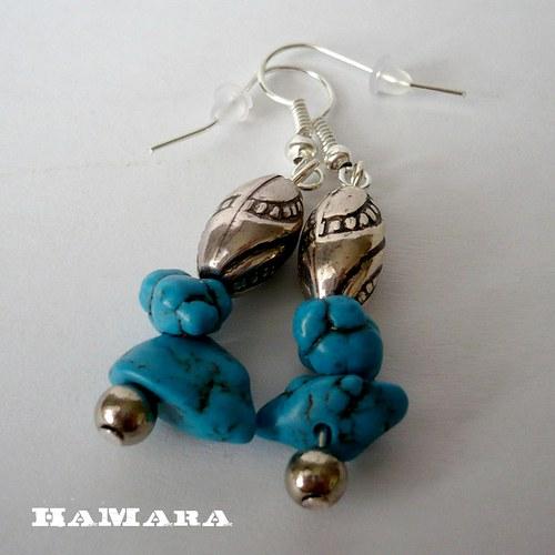 náušnice s modrými kamínky