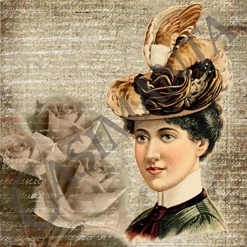 Žena s růžemi - vintage motiv