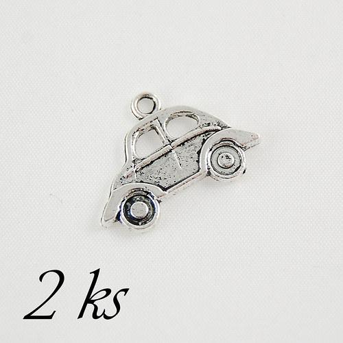 Autíčko, stříbrná barva - 2ks