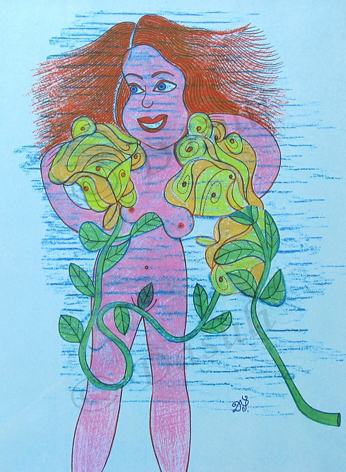 Rusovláska s růžemi