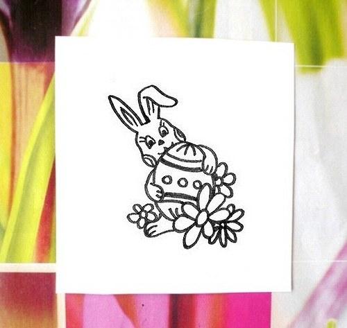 Zajíček s malovaným vajíčkem. Omyvatelné razítko.