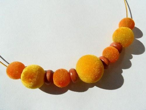 Sluníčkový sametový náhrdelník