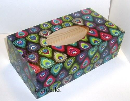 krabička na kapesníky-paví oko