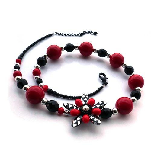"""Černočervenostříbrný \""""retro\"""" náhrdelník"""