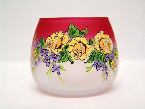 Kalíšek s kytičkami dvoubarevný-svícen