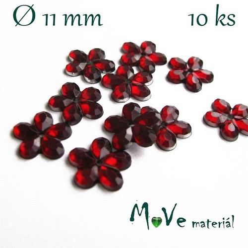 Květina plast Ø11mm našívací  10 ks tm. červená