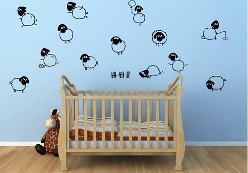 Samolepky na zeď - Počítání oveček (60 x 32 cm)