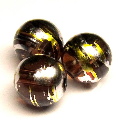 Sklo kovově žíhané - 10 mm - hnědá - 5 ks
